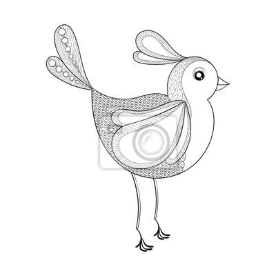 Vektor vogel. malvorlage mit zentangled vogel. hand gezeichnetes ...