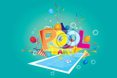 Vektor von pool-party einladung und design-elemente. fototapete ...