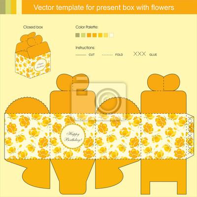 Vektor-vorlage für geschenk-box fototapete • fototapeten Fliesen ...