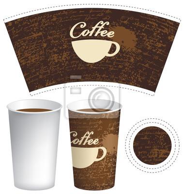 Vektor-vorlage papier tasse für heiße getränk mit tasse kaffee ...
