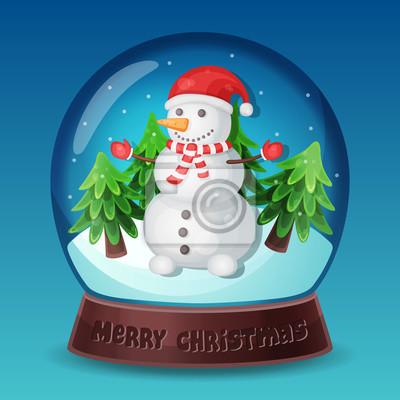 Vektor Weihnachten Schneekugel mit Schneemann, Pelz-Bäume und Schneeflocken