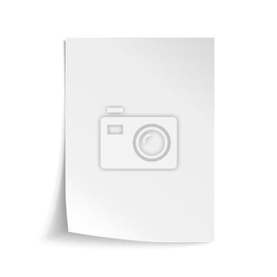 Fototapete Vektor Weißes Blatt Papier. Realistische leere Papier Hinweis Vorlage des A4-Format mit weichen Schatten isoliert auf weißem Hintergrund.
