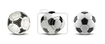 Fototapete Vektorfußballsatz. Realistische Fußbälle oder Fußballbälle auf weißem Hintergrund