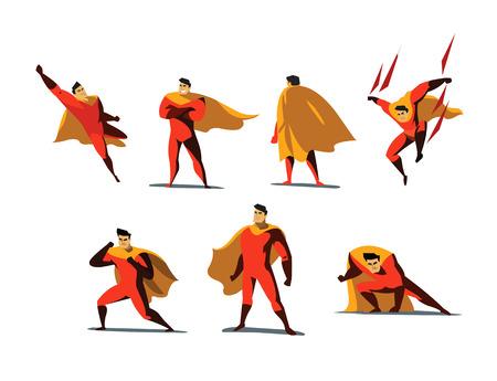 Vektorillustrationssatz Superheldaktionen, verschiedene Haltungen, Geschäftsmachtikonen stellten, Karikatur farbige Art, rotes Kostüm ein.