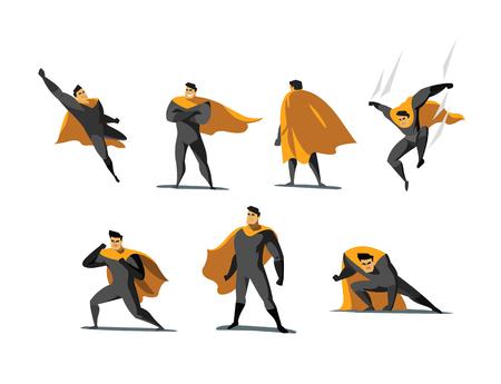 Vektorillustrationssatz Superhero-Aktionen, verschiedene Haltungen, Geschäftsmachtikonen stellten, Karikatur farbiges Art-, Graues und Orangekostüm ein.