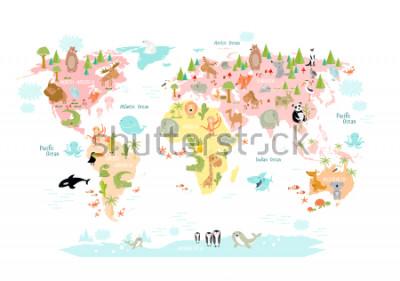Fototapete Vektorkarte der Welt mit Karikaturtieren für Kinder. Europa, Asien, Südamerika, Nordamerika, Australien, Afrika. Löwe, Krokodil, Känguru. Koala, Wal, Bär, Elefant, Hai, Schlange, Tukan.