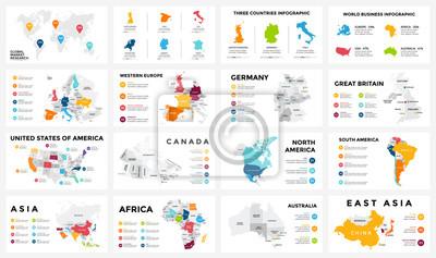 Fototapete Vektorkarte infographic. Dia-Präsentation. Globales Geschäftsmarketingkonzept. Farbenland. World Transport Geographie Daten. Wirtschaftsstatistikvorlage. Welt, Amerika, Afrika, Europa, Asien