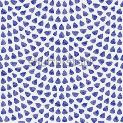 Fototapete Vektornahtloses Muster mit Fischschuppenplan. Blaue tropfenförmige Elemente mit Aquarellbeschaffenheit auf hellgrauem Hintergrund