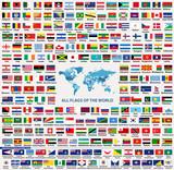 Weltzeitzonen Vektorkarte Mit Ländernamen Und Grenzen Fototapete