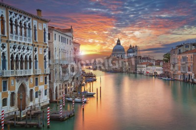 Fototapete Venedig. Bild von Canal Grande in Venedig, mit Santa Maria della Salute Basilika im Hintergrund.