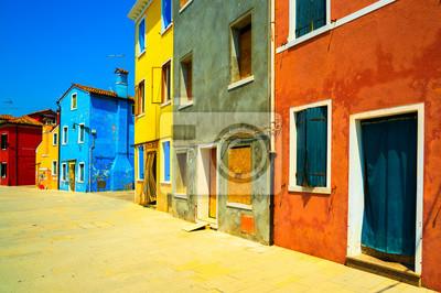 Häuser Italien venedig wahrzeichen burano insel straße bunte häuser italien