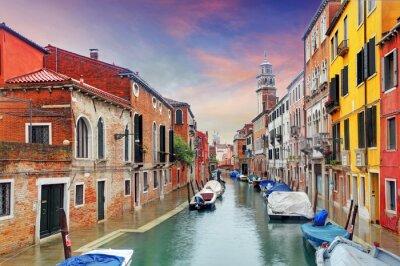 Fototapete Venedig Wahrzeichen, Kanal, bunte Häuser und Boote, Italien