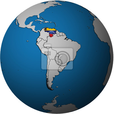 Globus Karte.Fototapete Venezuela Flagge Auf Globus Karte