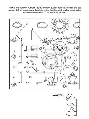 Verbinden sie die punkte bild puzzle und färbung seite - affe ...