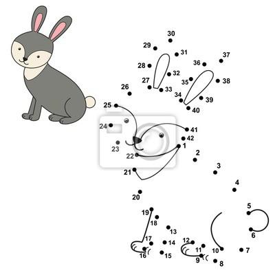 Verbinden Sie die Punkte, um das niedliche Kaninchen zu zeichnen und zu färben
