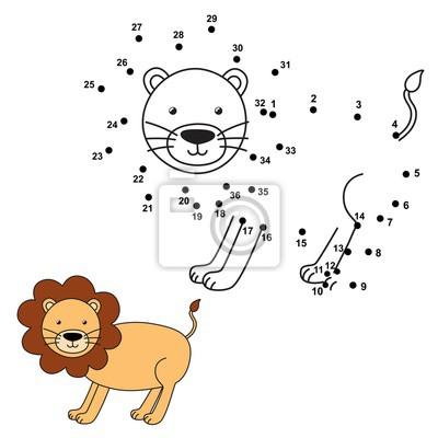 Verbinden Sie die Punkte, um den niedlichen Löwen zu zeichnen und zu färben. Bildungsnummern und Färbung Spiel für Kinder. Abbildung