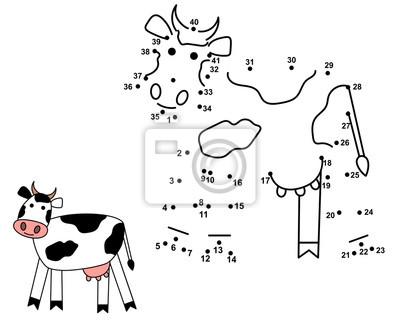 Verbinden Sie die Punkte, um die niedliche Kuh zu ziehen. Spiel für Kinder