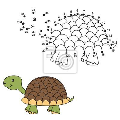 Verbinden Sie die Punkte, um die niedliche Schildkröte zu zeichnen und zu färben. Bildungsnummern und Färbung Spiel für Kinder. Abbildung