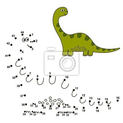 Verbinden Sie die Punkte, um einen niedlichen Dinosaurier zu zeichnen und zu färben