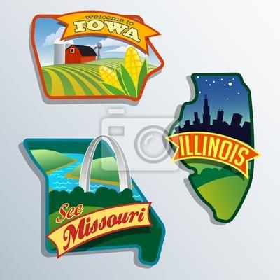 Vereinigte Staaten Illinois Missouri Iowa Illustrationen Designs