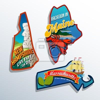 Vereinigte Staaten Maine Massachusetts New Hampshire Aufkleber-Designs