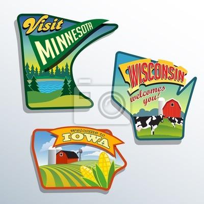 Vereinigte Staaten Minnesota Wisconsin Iowa Illustrationen Designs