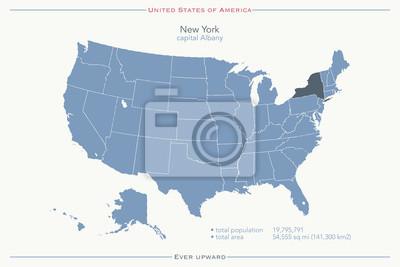 Amerika Karte New York.Fototapete Vereinigte Staaten Von Amerika Isolierte Karte Und New York State