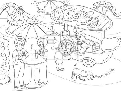 Vergnügungspark malvorlagen für kinder. hotdog. lebensmittel-lkw ...