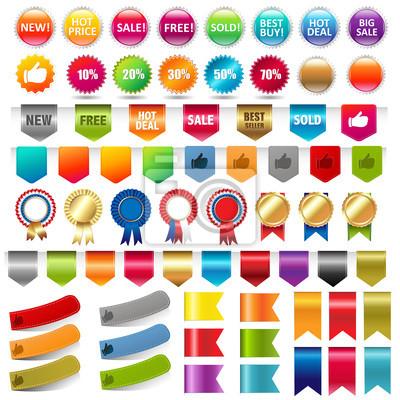 Verkauf Aufkleber und Web Ribbons Set
