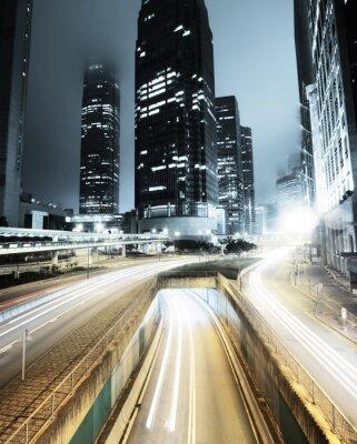 Fototapete Verkehr in Hong Kong bei Nacht