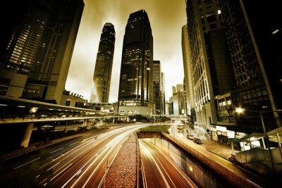 Fototapete Verkehr in Hong Kong bei Sonnenuntergang Zeit