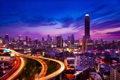 Fototapete Verkehr in modernen Stadt bei Nacht, Bangkok Thailand