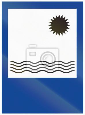Verkehrsschild in Argentinien - Schwimmbereich