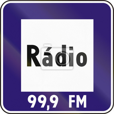 Fototapete Verkehrsschild in der Slowakei - Radio Verkehr Informationen