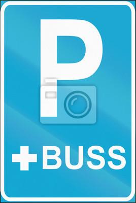 Verkehrsschild in Estland - Bus Parkplatz