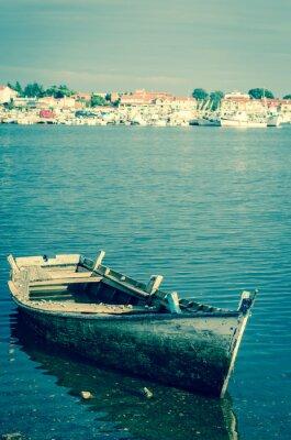Fototapete Verlassenen Holzboot