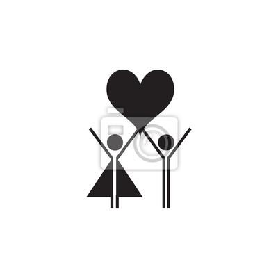 Verliebte Paare Erheben Ihre Herzikone Valentinstag Elemente