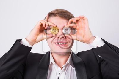 Verrückter Bitcoin Liebhaber Mit Goldenen Und Silbernen Münzen