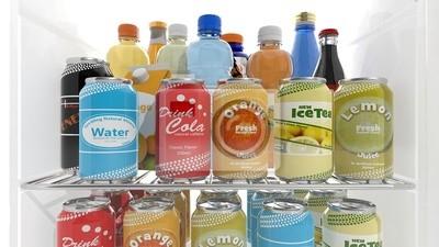Kühlschrank Regal : Verschiedene 3d getränke produkte auf kühlschrank regal fototapete