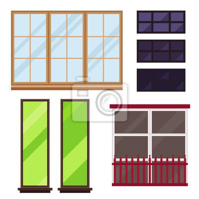 Verschiedene Arten Haus Fenster Elemente Flachen Stil Glasrahmen