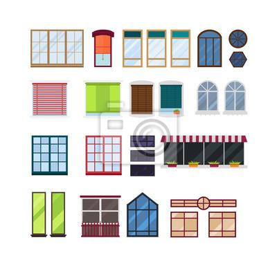 Verschiedene Arten Haus Fenster Vektor Elemente Isoliert Auf