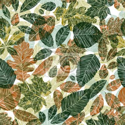 Fototapete Verschiedene Blätter nahtlose Muster.