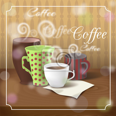 verschiedene kaffeetassen auf dem holztisch kaffeezeit fototapete fototapeten gepunktete. Black Bedroom Furniture Sets. Home Design Ideas