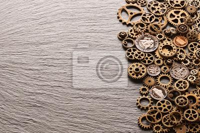 Verschiedene Metallzahnräder Mit Usa Münzen Fototapete Fototapeten