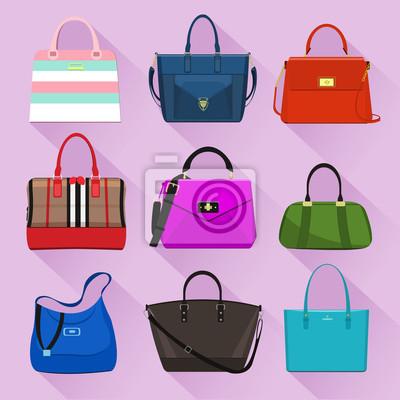cf8ff1f077b34 Fototapete Verschiedene trendige Frauen-Taschen mit bunten Prints. Flache  Stil Vektor-Illustration.