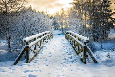 Fototapete Verschneite, hölzerne Brücke an einem Wintertag. Stare Juchy, Polen