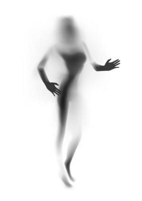 Fototapete Verschwommene sexy Frau Silhouette, Hände. Abbildung.