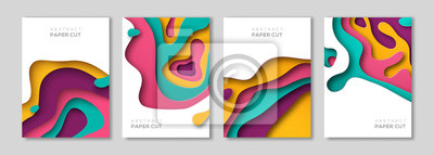 Fototapete Vertical banners set with paper cut
