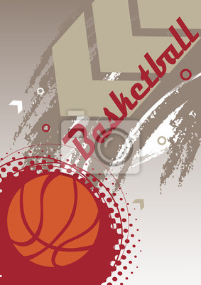 Vertical basketball banner with big arrow