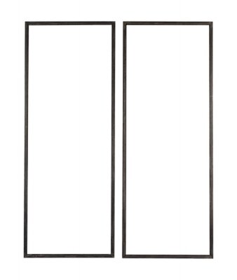 Fototapete Vertical long wooden frame for a photo on white background
